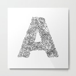 Floral Type - Letter A Metal Print