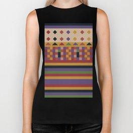 Stripes and squares ethnic pattern Biker Tank