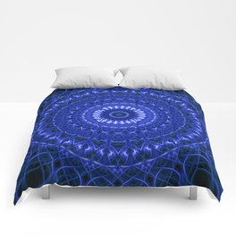 Dark blue mandala Comforters