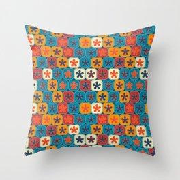 Blobs and tiles Throw Pillow