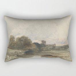Evening landscape with the ruins of Kirkstall Abbey, Yorkshire, Peter de Wint, 1794 - 1849 Rectangular Pillow