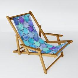 Colorful Blues Mermaid Scales Sling Chair