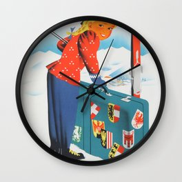 Winter in Austria - Vintage Travel Poster Wall Clock