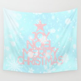Joy, Noel, Merry Christmas and Star pattern - pink on aqua Wall Tapestry