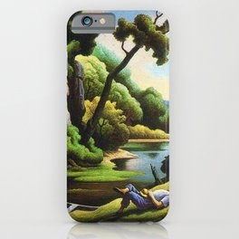 Classical Masterpiece 'Cave Spring' by Thomas Hart Benton iPhone Case