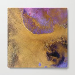 Gold & Violet Ink Abstract Art A Metal Print
