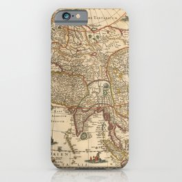 Vintage Map Print - Hondius - Map of Asia, from the Mercator-Hondius Atlas, 1630 iPhone Case