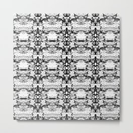 Modern Bohemian Black and White Pattern Metal Print