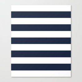 Yankees blue - solid color - white stripes pattern Canvas Print