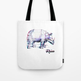 Rhino Glitch | Digital Art Tote Bag