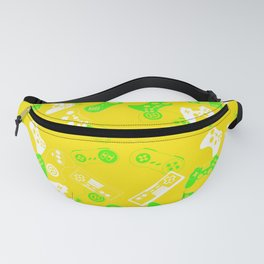 Video Games green on yellow Fanny Pack