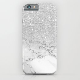 Modern faux grey silver glitter ombre white marble iPhone Case