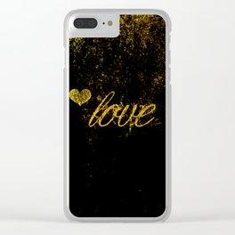Glittery Love Clear iPhone Case