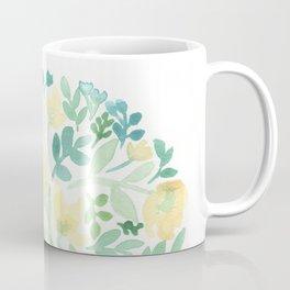 Yellow and Blue Floral Circle Coffee Mug