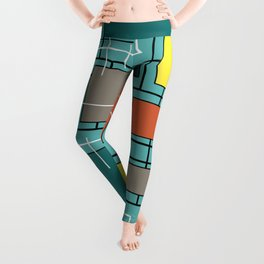 Atomic Era Abstract Lines Boxes Turquoise Leggings