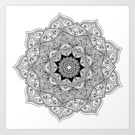 paisley black and white hippie boho mandala Art Print