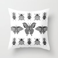 insects Throw Pillows featuring insects by Textile Candy