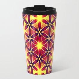 FLOWER OF LIFE batik style yellow red Travel Mug