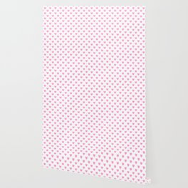 Pink Hearts on White Wallpaper