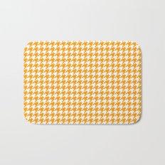 Friendly Houndstooth Pattern, orange Bath Mat