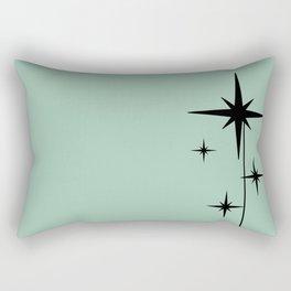 1950s Atomic Age Retro Starburst in Mint Green and Black 2 Rectangular Pillow