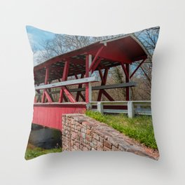 Colvin Covered Bridge over Shawnee Creek Bedford County Pennsylvania Red Shiller Calvin Bridge Throw Pillow