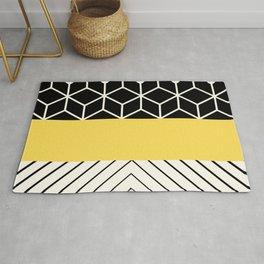 Geometric design collage in yellow Rug