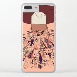 Black Cat Tea Graphic Design Clear iPhone Case