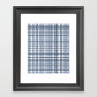 Weave Navy Framed Art Print