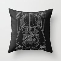 vader Throw Pillows featuring Vader by Jon Deviny