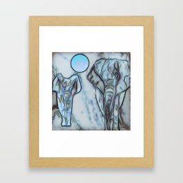 Elephants in blue Framed Art Print