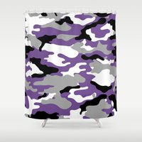 military Shower Curtains featuring Military Camo - Violet by MoshFox