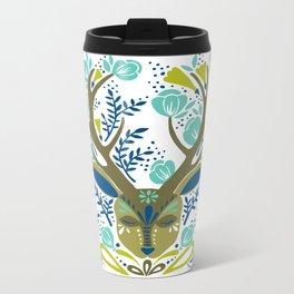 Floral Antlers – Earth Tones Palette Metal Travel Mug