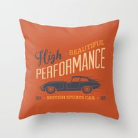 sport Throw Pillows featuring Vintage British Sport Car by Thyme