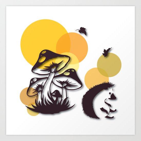 Mushroom And Hedgehog No. 3 Art Print