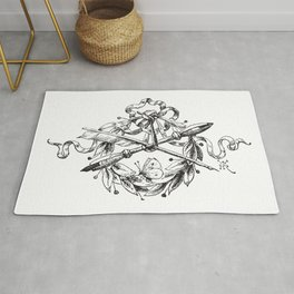 1862 Quill and Pencil Artist and Writer Crest Rug