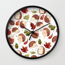 Autumn Hedgehogs Wall Clock