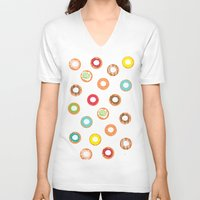 donuts V-neck T-shirts featuring DONUTS by Wen Li T