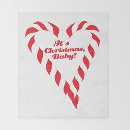 Candy Cane - It's Christmas, Baby! #xmas #christmas #minimal #love #design Throw Blanket