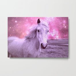 Pink Horse Celestial Dreams Metal Print