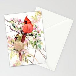 Cardinal Birds and Spring, cardinal bird design Stationery Cards