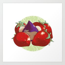 Poppette and strawberries Art Print