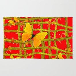 YELLOW BUTTERFLIES & RED THORN LATTICE Rug