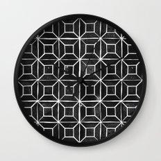 Geometric Lino Printed Pattern Wall Clock
