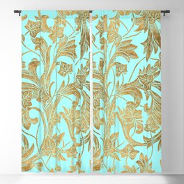 Elegant Gold Mint Blue Modern Chic Floral Pattern Blackout Curtain