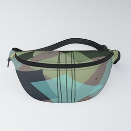 Mid Century Modern rain dance - Putty Black Green and Teal Palette Fanny Pack