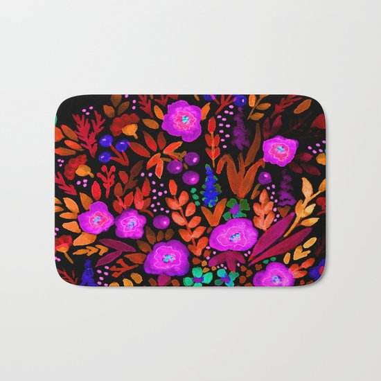 Watercolor colorful flower pattern on a black background . Bath Mat
