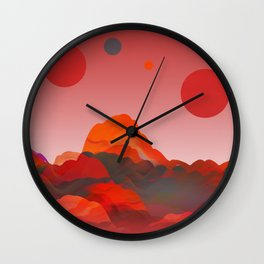 """Coral Pink Sci-Fi Mountains"" Wall Clock"
