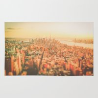 new york city Area & Throw Rugs featuring New York City Sunset by Vivienne Gucwa