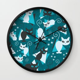 Jazzy Cats Pattern Wall Clock